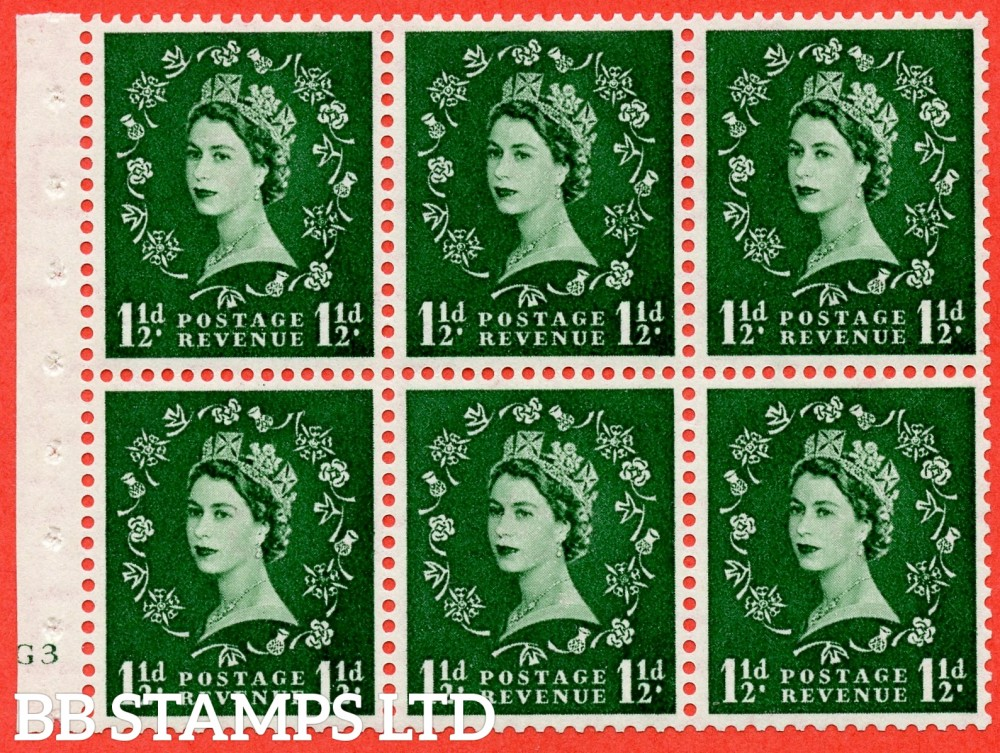 "SG. 517. SB59. 1½d green. A fine mounted mint cylinder "" G3 no dot "" booklet pane of 6. Perf type (I) with GOOD PERFS. Smooth edge."