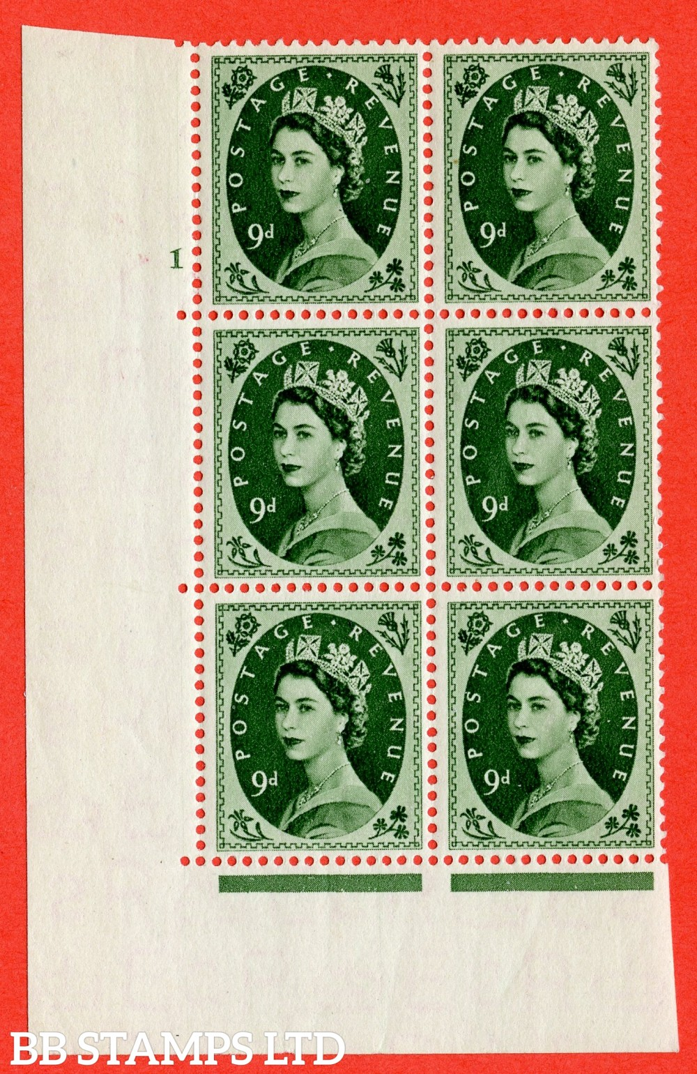 "SG. 526. S124. 9d Bronze-green. A superb UNMOUNTED MINT "" cylinder 1 no dot "" control block of 6 with perf type A E/I."