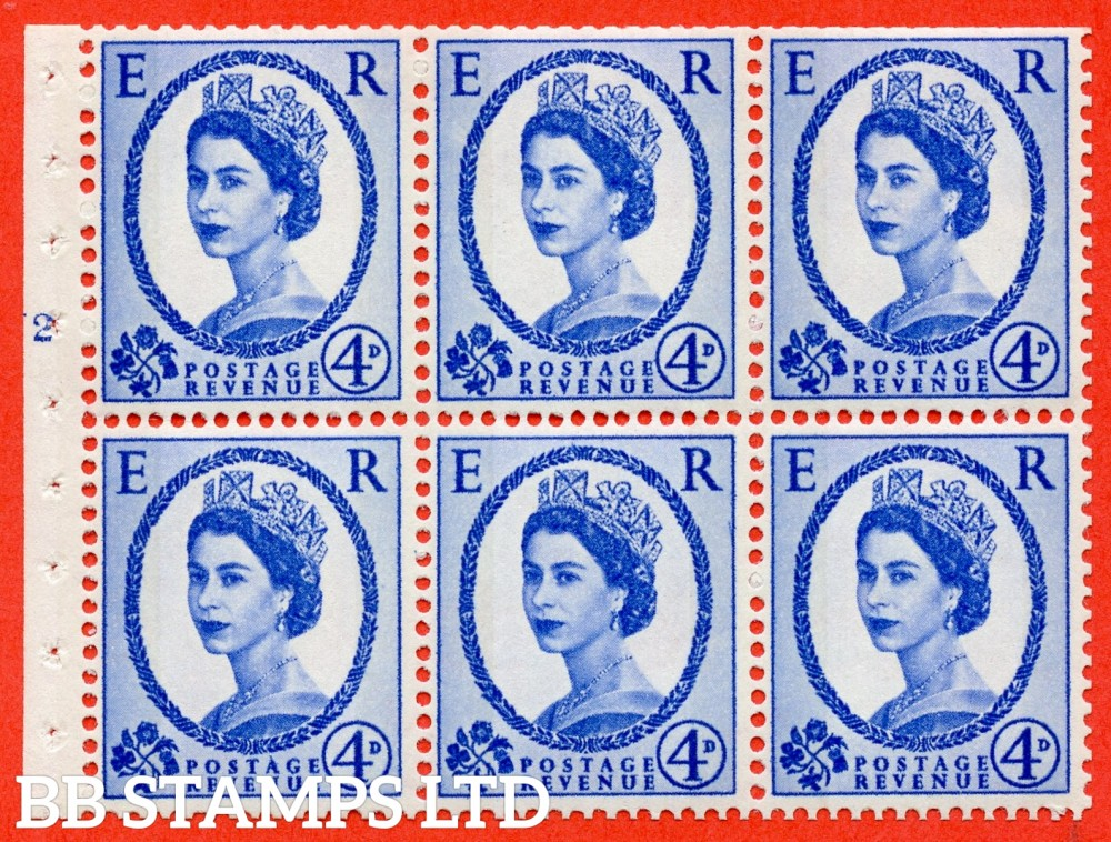 "SG. 616a. SB109. 4d Deep Ultramarine. A fine UNMOUNTED MINT cylinder "" N2 T no dot "" booklet pane of 6. Perf type (I) with TRIMMED PERFS. Smooth edge. White Paper."