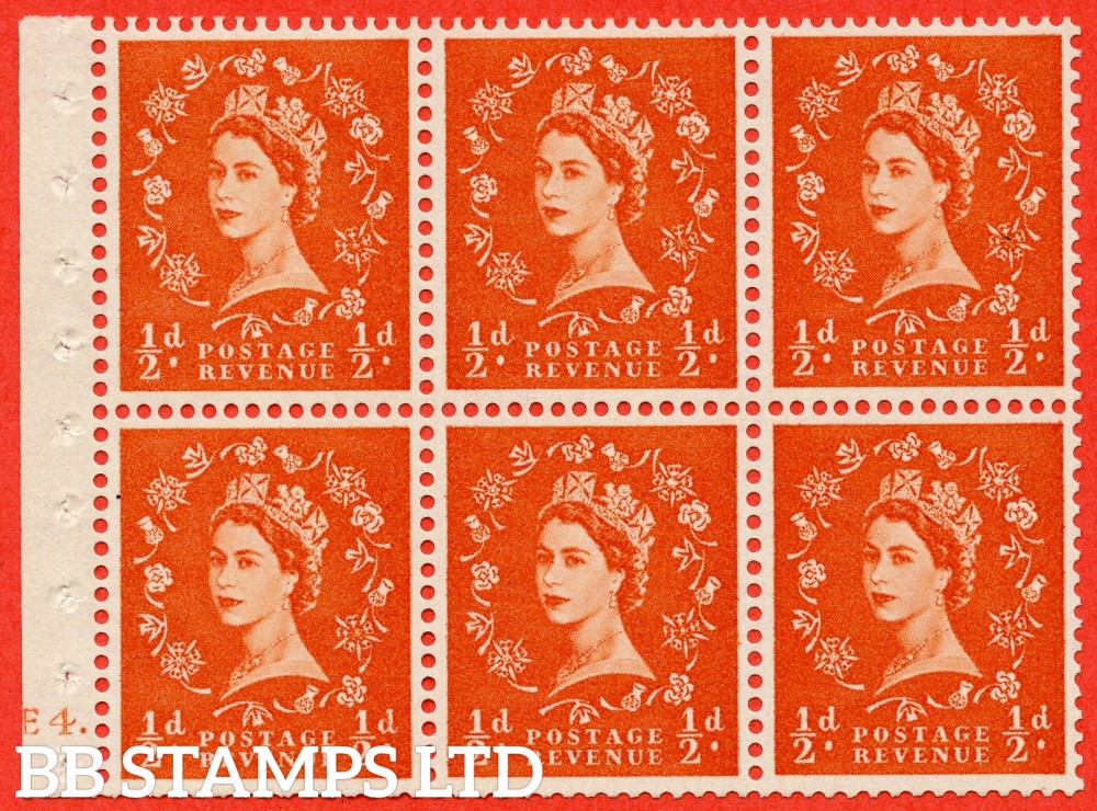 "SG. 570. SB7. ½d orange - red. A fine mounted mint cylinder "" E4 dot "" booklet pane of 6. Perf type (Ieb) with TRIMMED PERFS. Smooth edge."