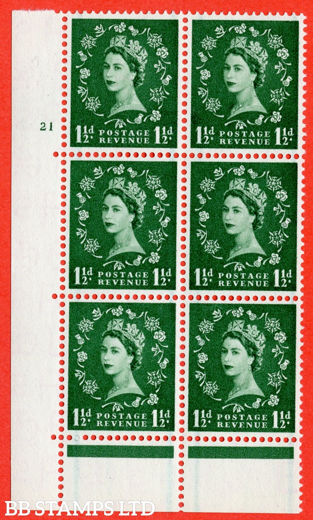 "SG. 563. S27. 1½d Green. A superb UNMOUNTED MINT "" cylinder 21 no dot "" control block of 6 with perf type C E/P."