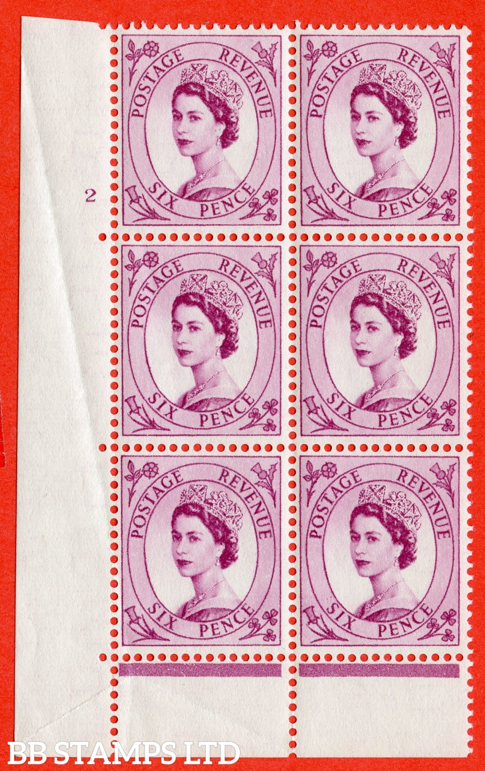 "SG. 548a. S106. 6d. Deep Claret. A fine lightly mounted mint "" cylinder 2 no dot "" control block of 6 with perf type C E/P."