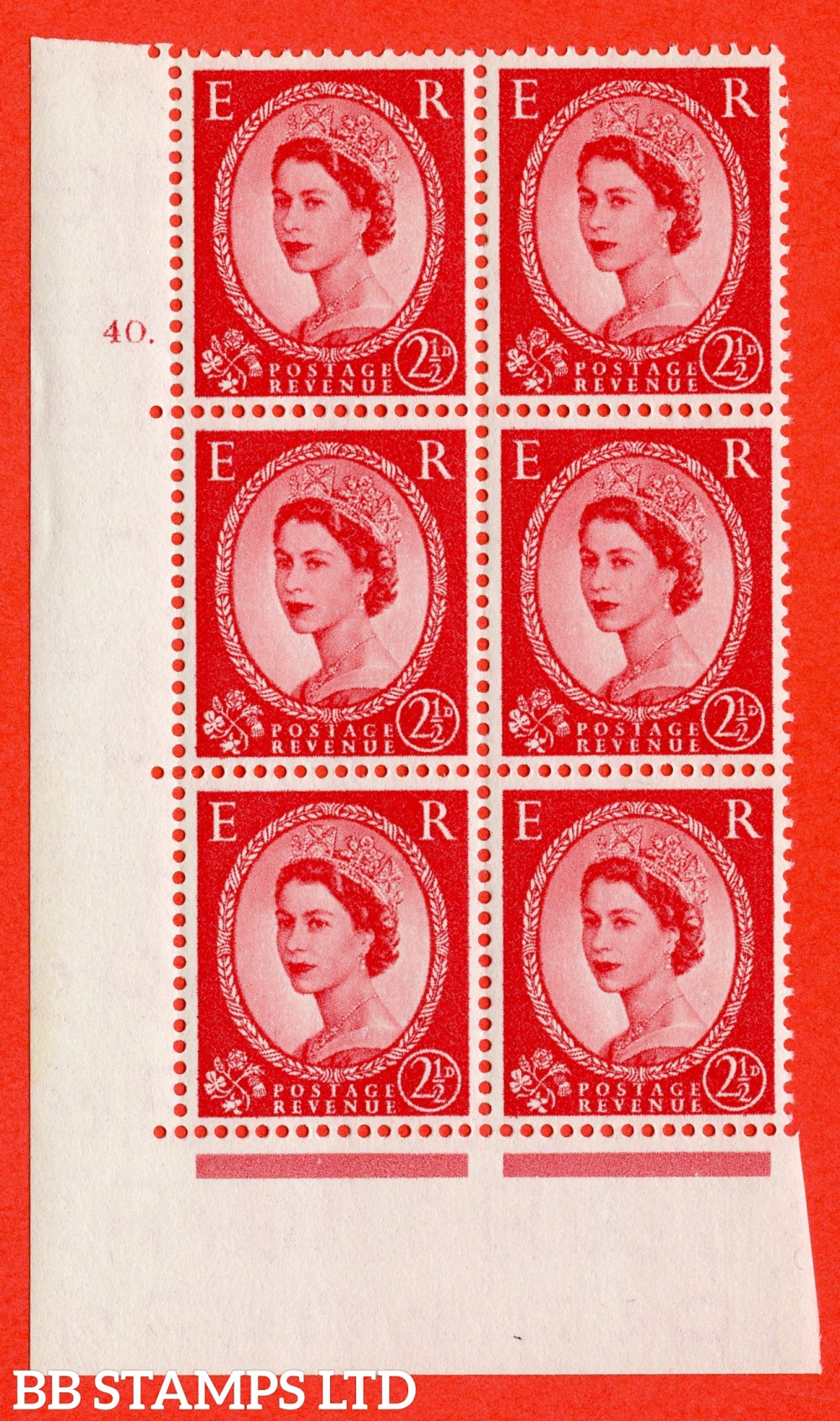 "SG. 544. S52. 2½d. Carmine - Red. A superb UNMOUNTED MINT "" cylinder 40 dot "" control block of 6 with perf type A E/I."