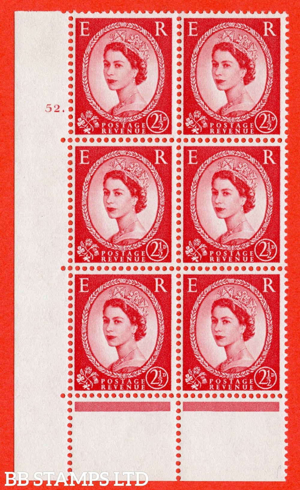 "SG. 574. S57. 2½d Carmine - red.Type II. A superb UNMOUNTED MINT "" cylinder 52 dot "" control block of 6 with perf type A E/I. WHITE paper."