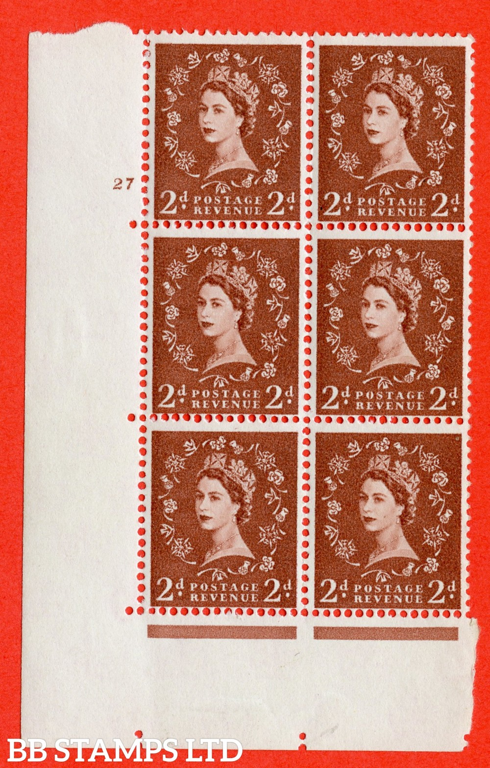 "SG. 573. S41. 2d Red - Brown. A fine lightly mounted mint "" cylinder 27 no dot "" control block of 6 with perf type A E/I. WHITE paper."
