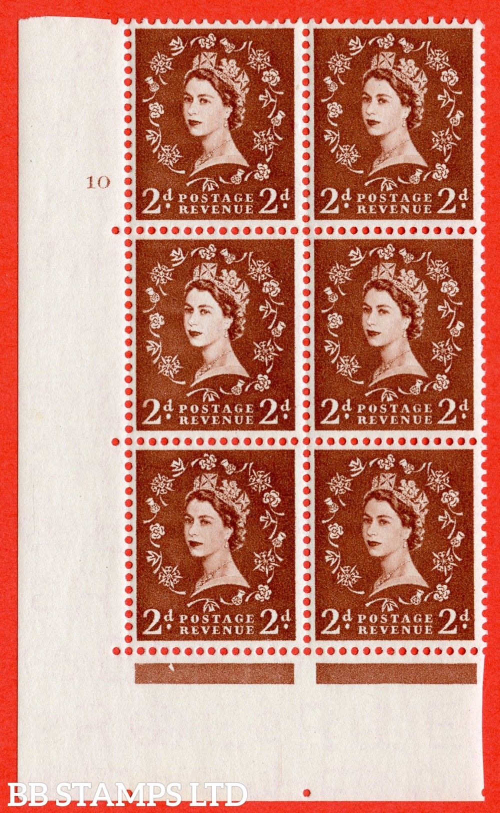 "SG. 543b. S38. 2d. Light Red-brown. A superb UNMOUNTED MINT "" cylinder 10 no dot "" control block of 6 with perf type A E/I."