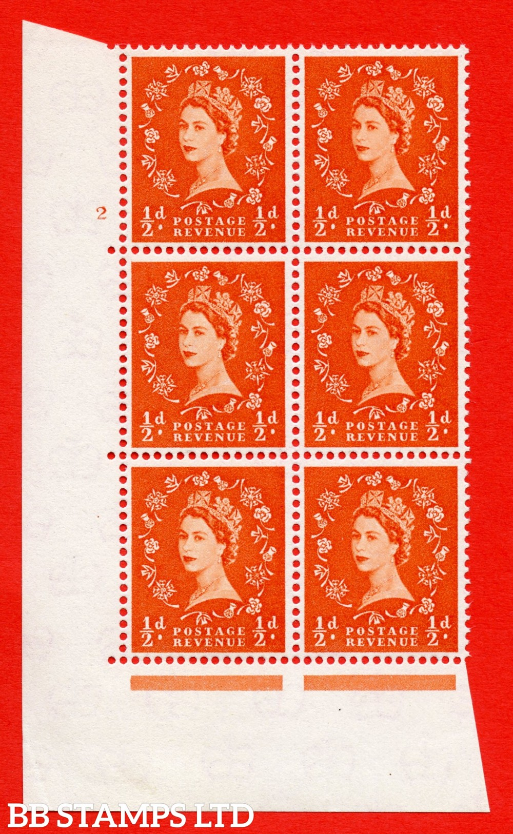 """SG. 570. S4. ½d Orange. A superb UNMOUNTED MINT """" cylinder 2 no dot """" control block of 6 with perf type A E/I. CREAM paper."""
