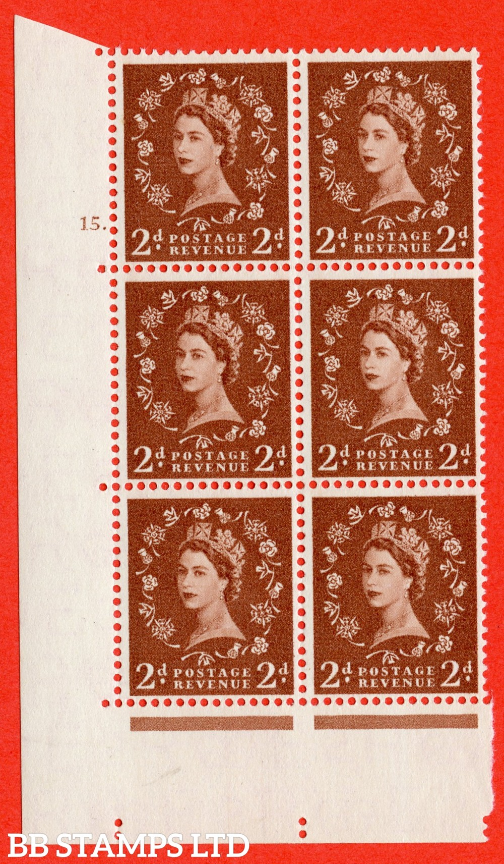 "SG. 543b. S38. 2d. Light Red-brown. A superb UNMOUNTED MINT "" cylinder 15 dot "" control block of 6 with perf type A E/I."