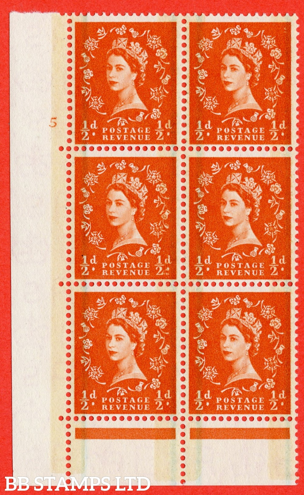 """SG. 599. S8. ½d Orange. A superb UNMOUNTED MINT """" cylinder 5 no dot """" control block of 6 with perf type C E/P."""