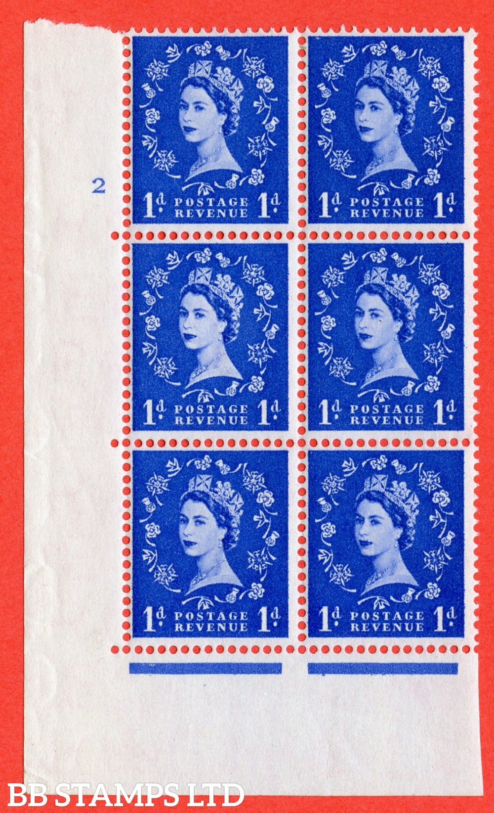 "SG. 541. S14. 1d. Ultramarine. A fine lightly mounted mint "" cylinder 4 dot "" control block of 6 with perf type C E/P"