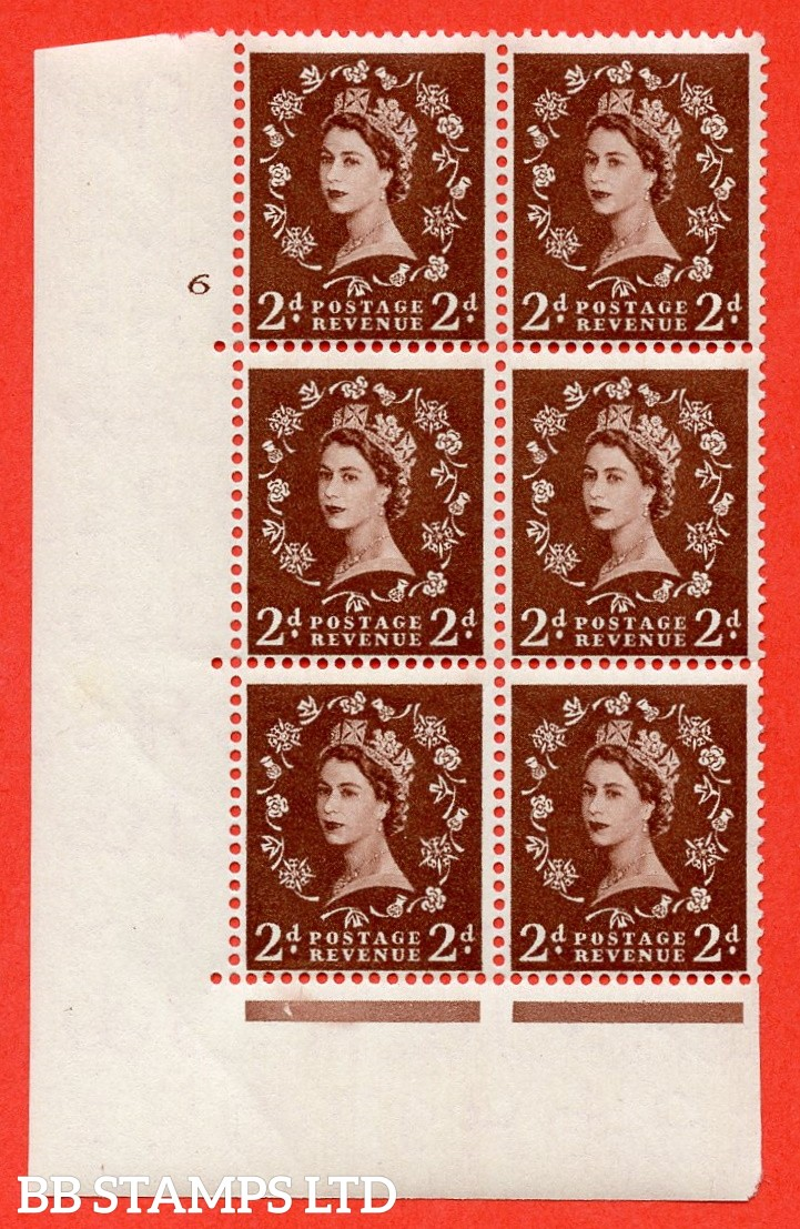 "SG. 543. S37. 2d. Red-brown. A superb UNMOUNTED MINT "" cylinder 6 no dot "" control block of 6 with perf type A E/I."
