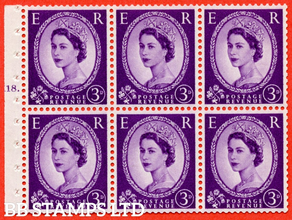 "SG. 575. SB92. 3d Deep Lilac. A fine UNMOUNTED MINT cylinder "" K18 T dot "" booklet pane of 6. Perf type (Ieb) with GOOD PERFS. Smooth edge. Cream paper."