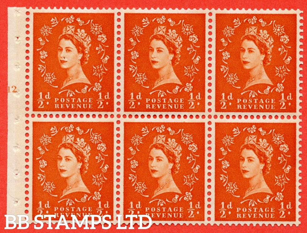 "SG. 610. SB16. ½d Orange Red. A fine mounted mint cylinder "" E12 T no dot "" booklet pane of 6. Perf type (I) with GOOD PERFS. Smooth edge. Cream Paper."