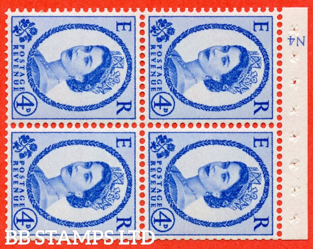 "SG. 576a. SB106a. 4d Deep Ultramarine. A fine UNMOUNTED MINT cylinder "" N4 no dot "" booklet pane of 4. Perf type (I) with GOOD PERFS. Smooth edge. White paper."