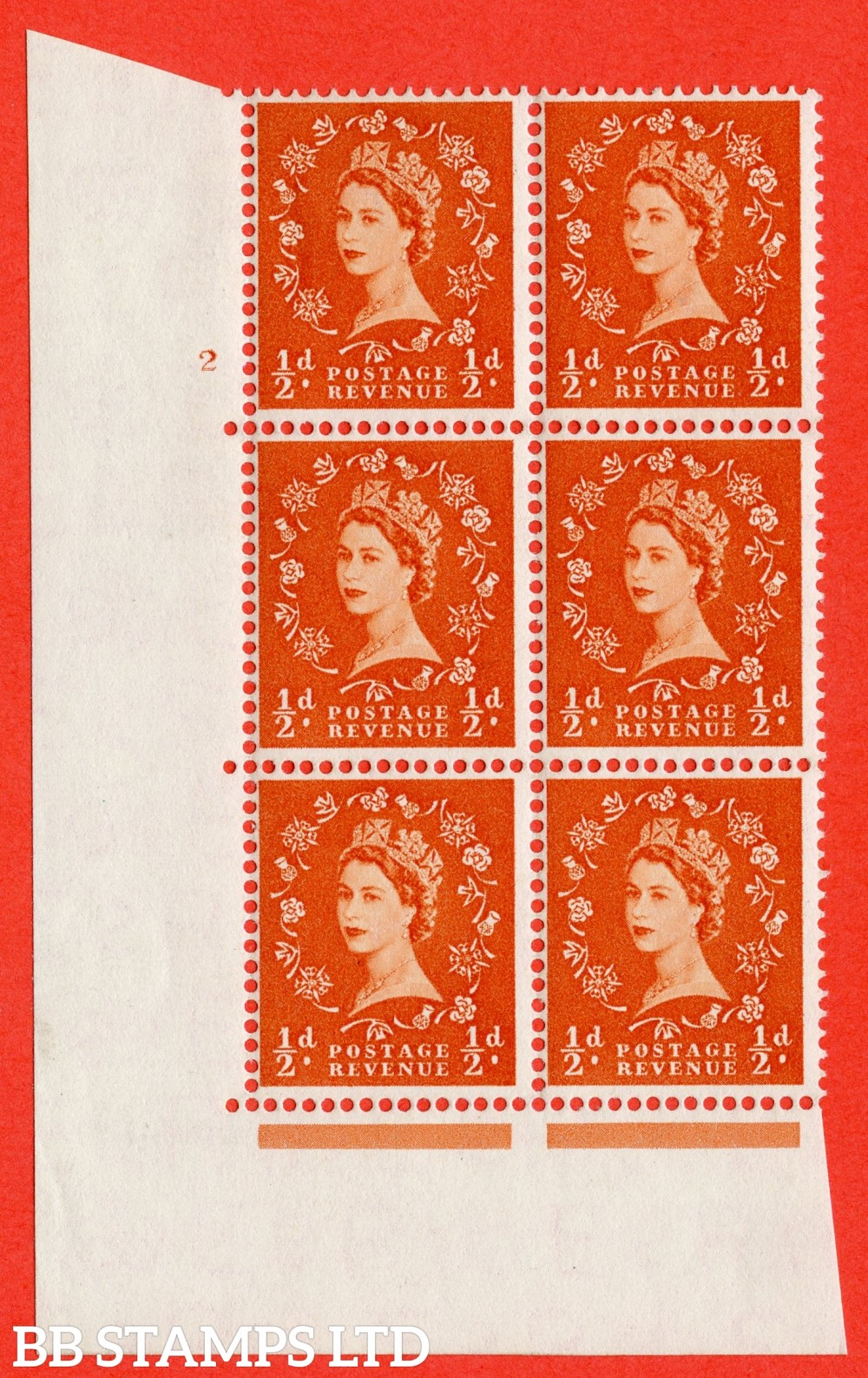 "SG. 540. S2. ½d. Orange-red. A fine lightly mounted mint "" cylinder 2 no dot "" control block of 6 with perf type A E/I."