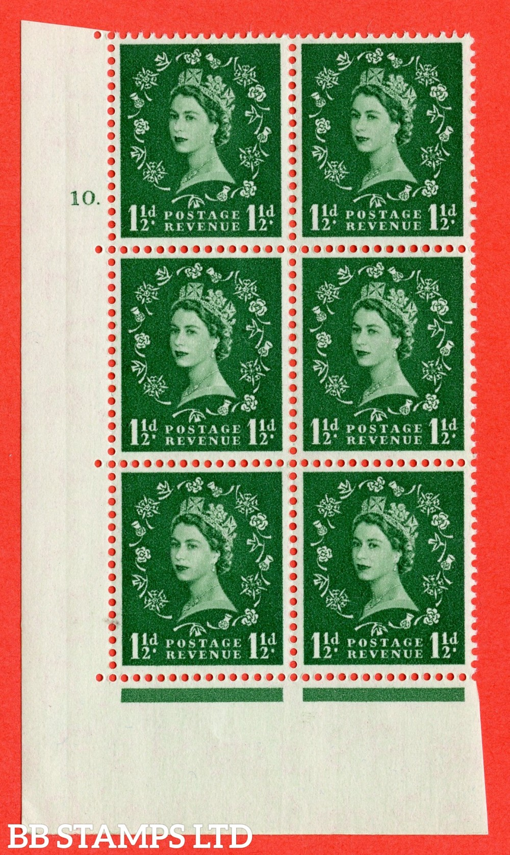 """SG. 517. S25. 1½d Green. A superb UNMOUNTED MINT """" cylinder 10 dot """" control block of 6 with perf type A E/I."""