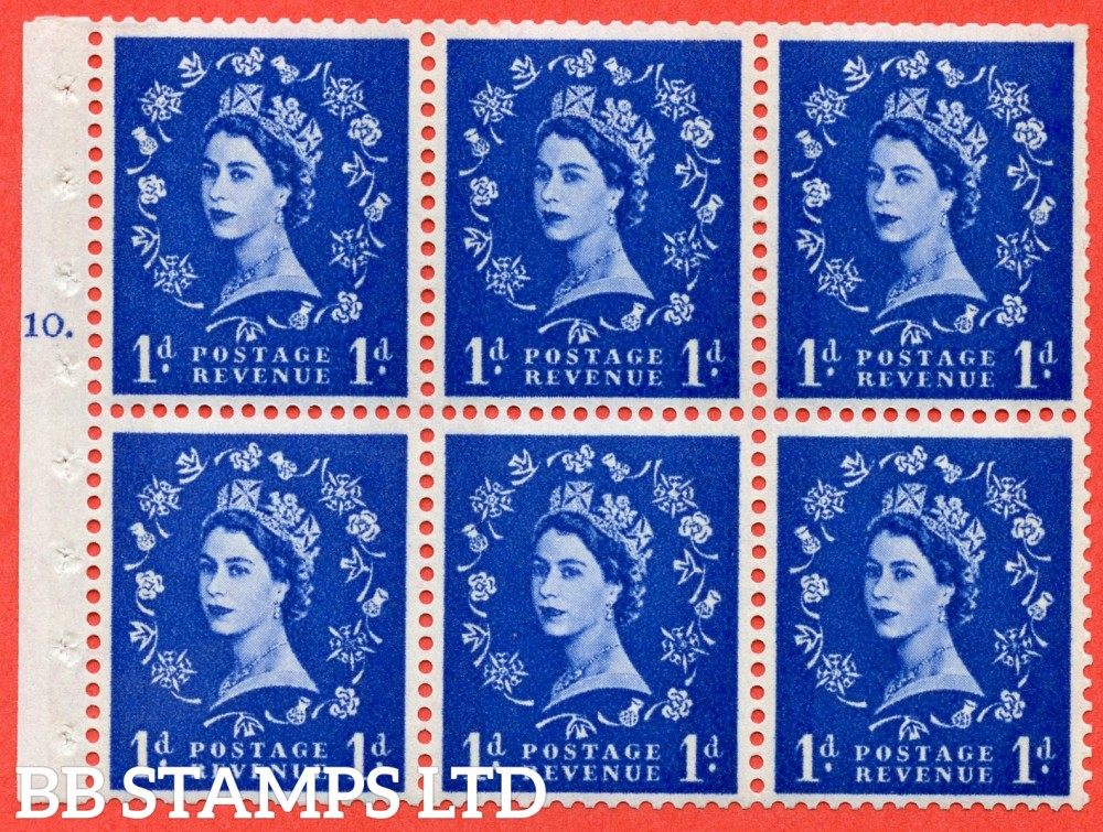"SG. 611. SB49. 1d Ultramarine. A fine UNMOUNTED MINT cylinder "" F10 T dot "" booklet pane of 6. Perf type (Iet) with TRIMMED PERFS. Smooth edge. White Paper."