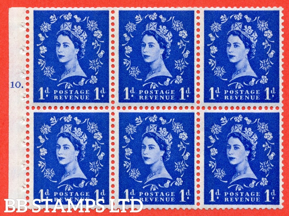 "SG. 611. SB42. 1d Ultramarine. A fine UNMOUNTED MINT cylinder "" F10 T dot "" booklet pane of 6. Perf type (Iet) with GOOD PERFS. Smooth edge. White Paper."