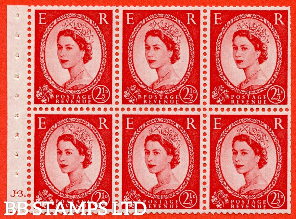 "SG. 519 b. SB80. 2½d carmine - red. A fine UNMOUNTED MINT cylinder "" J3 dot "" booklet pane of 6. Perf type (Ieb) with TRIMMED PERFS. Smooth edge."