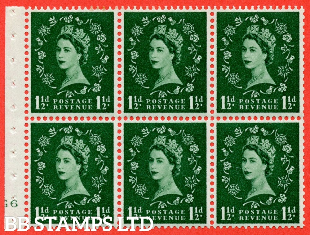 "SG. 542. SB62. 1½d green. A fine UNMOUNTED MINT cylinder "" G6 no dot "" booklet pane of 6. Perf type (I) with GOOD PERFS. Smooth edge."