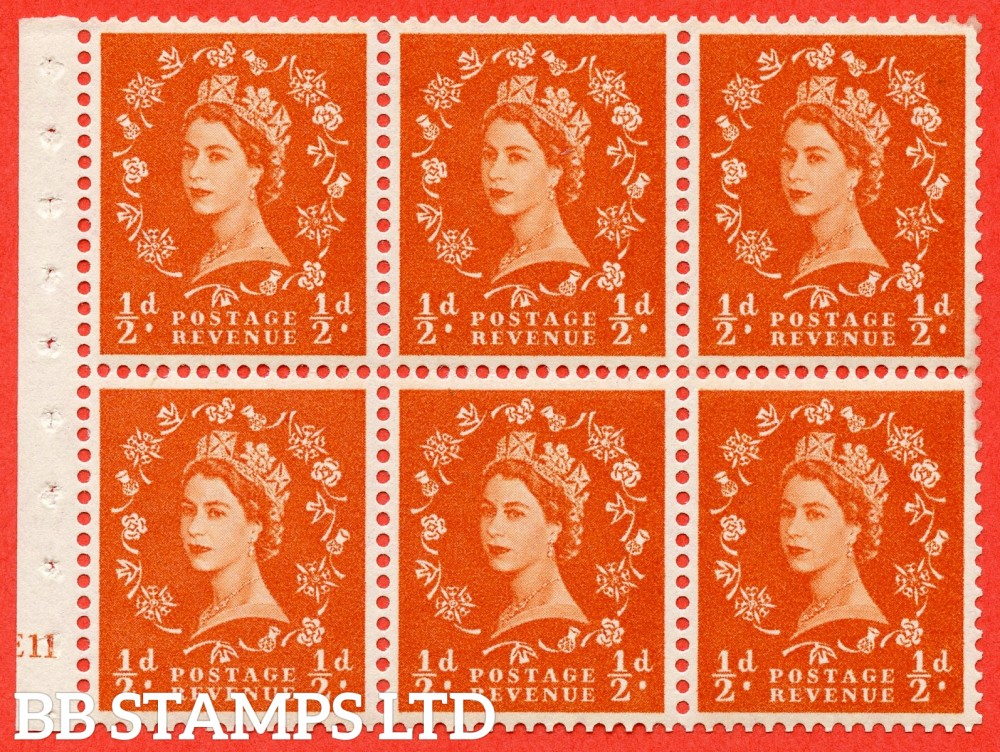 "SG. 570. SB7. ½d orange - red. A fine UNMOUNTED MINT cylinder "" E11 no dot "" booklet pane of 6. Perf type (I) with GOOD PERFS. Smooth edge."