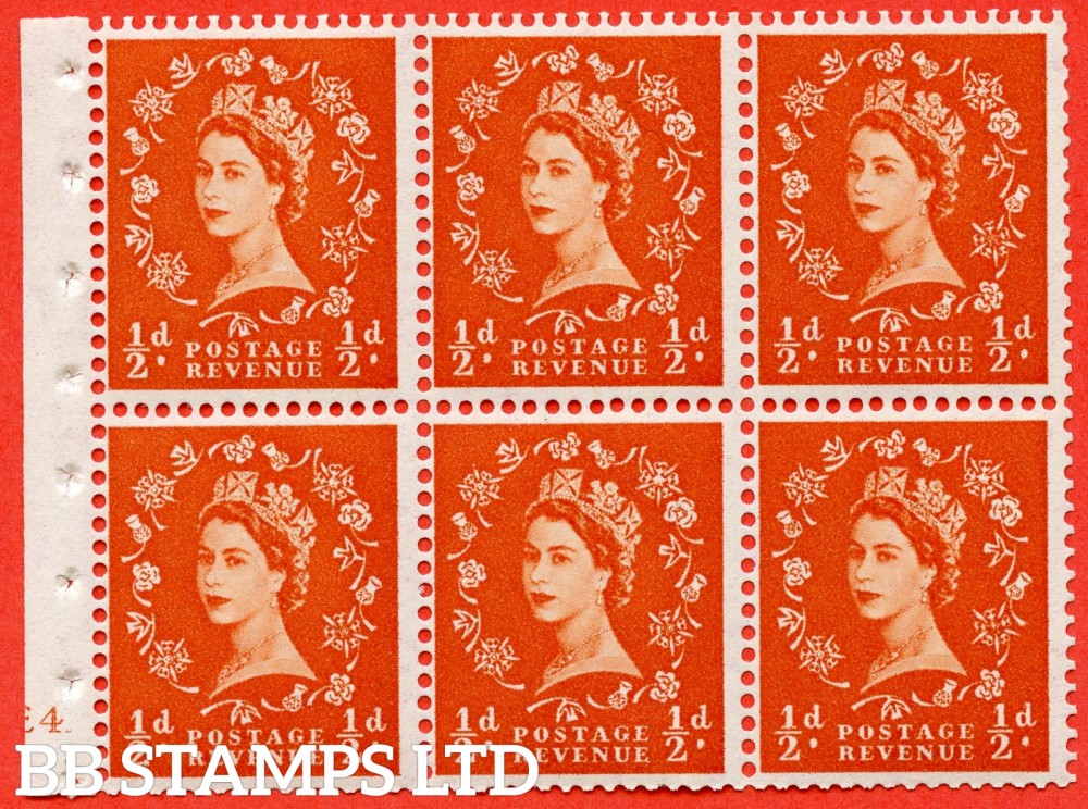 "SG. 540. SB4. ½d orange - red. A fine UNMOUNTED MINT cylinder "" E4 no dot "" booklet pane of 6. Perf type (I) with GOOD PERFS. Smooth edge. Erroneous dot variety."