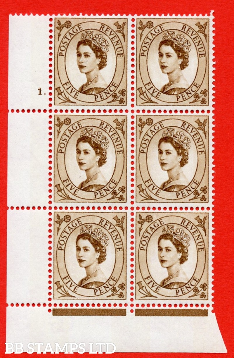 "SG.616c. S103. 5d Deep Brown. A superb UNMOUNTED MINT "" cylinder 1 dot "" control block of 6 with perf type FL (P/E). violet Phosphor 9½mm Band."