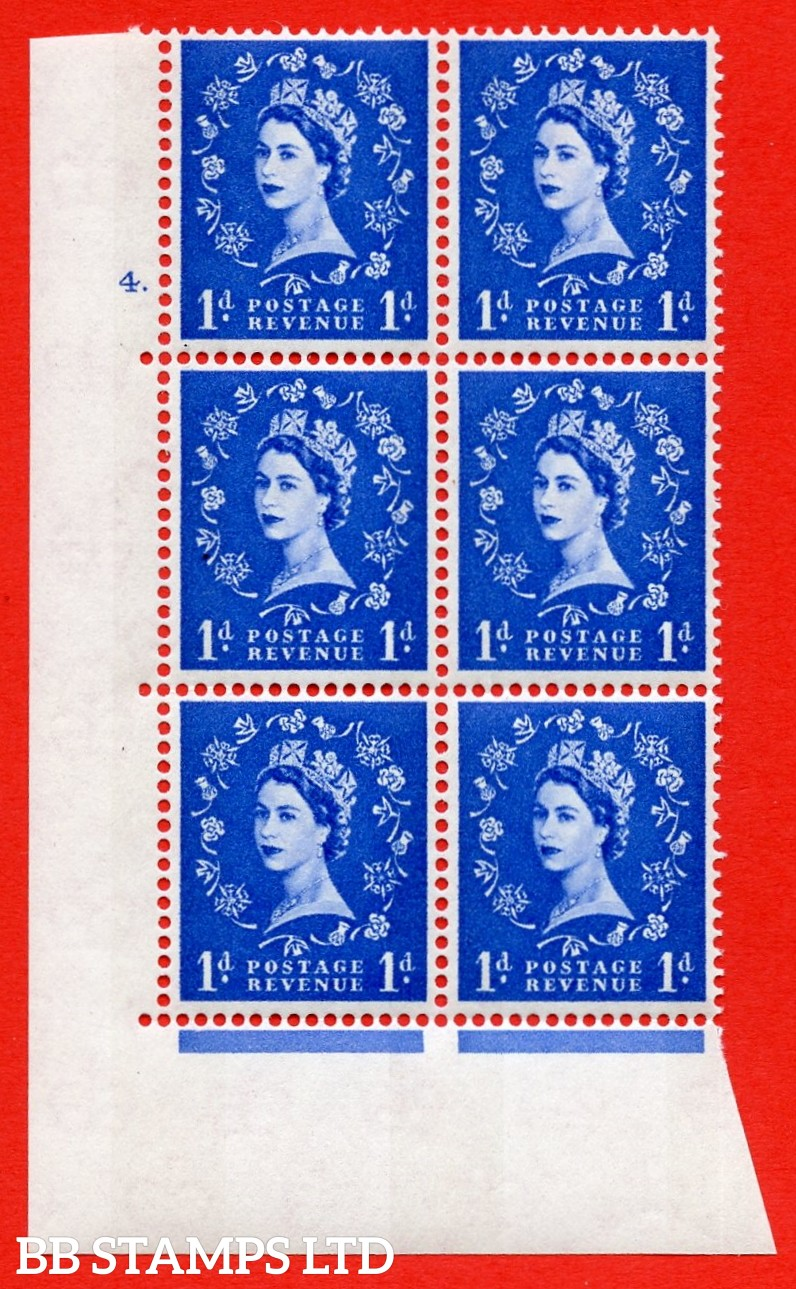 "SG.611. S22. 1d  Ultramarine. A superb UNMOUNTED MINT "" cylinder 4 dot "" control block of 6 with perf type A (E/I). Blue Phosphor White paper"