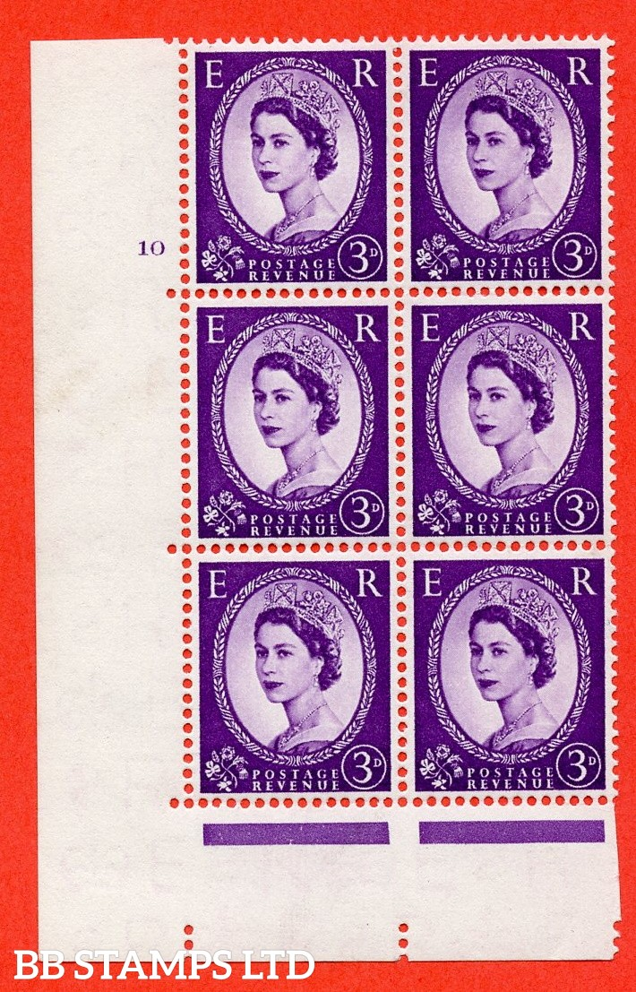 "SG. 545. S68. 3d. Deep - Lilac. A fine mounted mint "" cylinder 10 no dot "" control block of 6 with perf type A E/I."