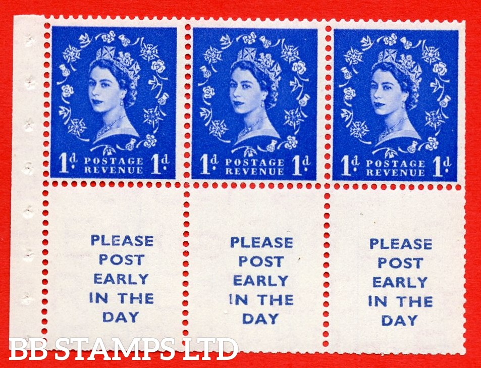 SG. 516La. SB24. 1d ultramarine. A fine UNMOUNTED MINT Complete booklet pane of 6. Perf type (IS) with Trimmed PERFS.