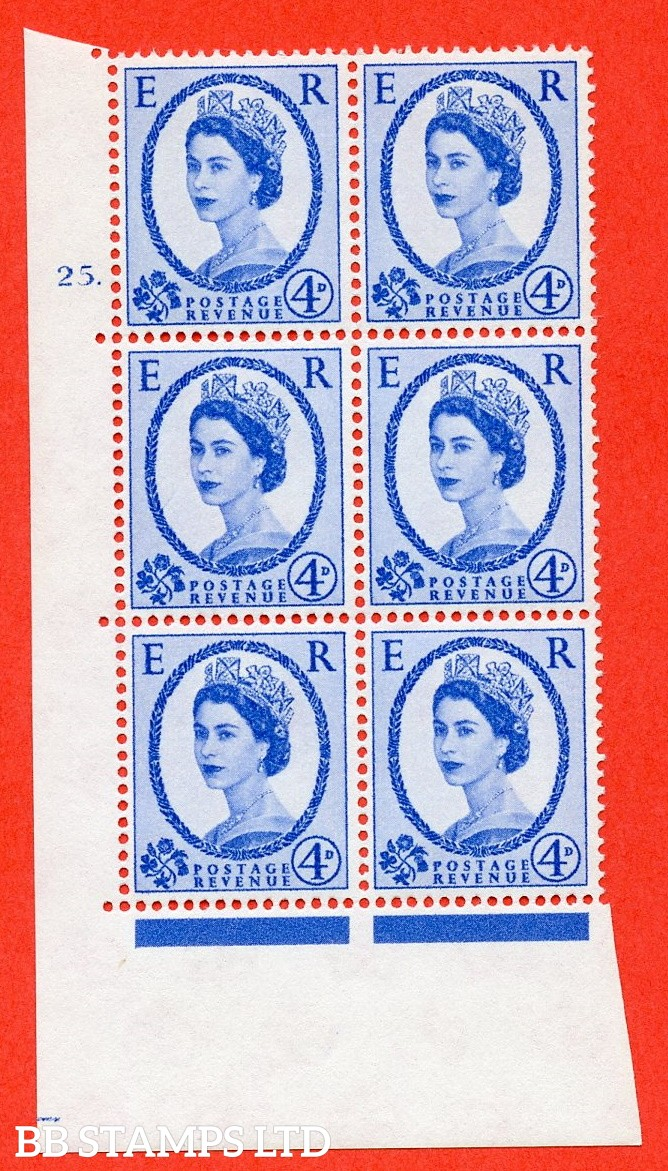 "SG. 576a. S85. 4d Deep Ultramarine. A superb UNMOUNTED MINT "" cylinder 25 dot "" control block of 6 with perf type A E/I. WHITE paper."