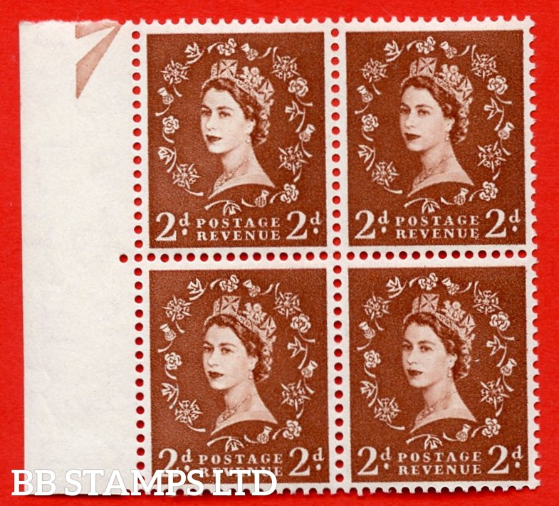 SG. 543b. S38m. 2d. Light Red-brown. A superb UNMOUNTED MINT example from cylinder 10 no dot. Left marginal positional Block of 4. With a Double trumpet flaw ERROR R.11/1 variety.