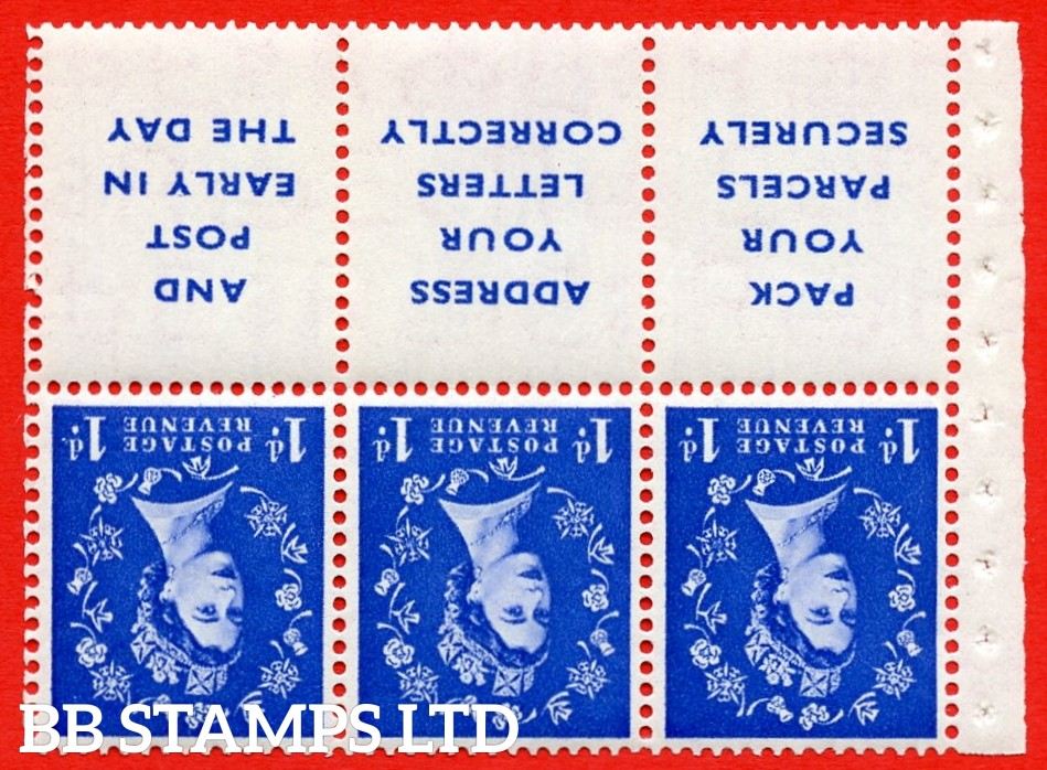 SG. 516Lawi. SB25a. 1d ultramarine. A fine UNMOUNTED MINT. WATERMARK INVERTED. Complete booklet pane of 6. Perf type (IR) with Good PERFS.