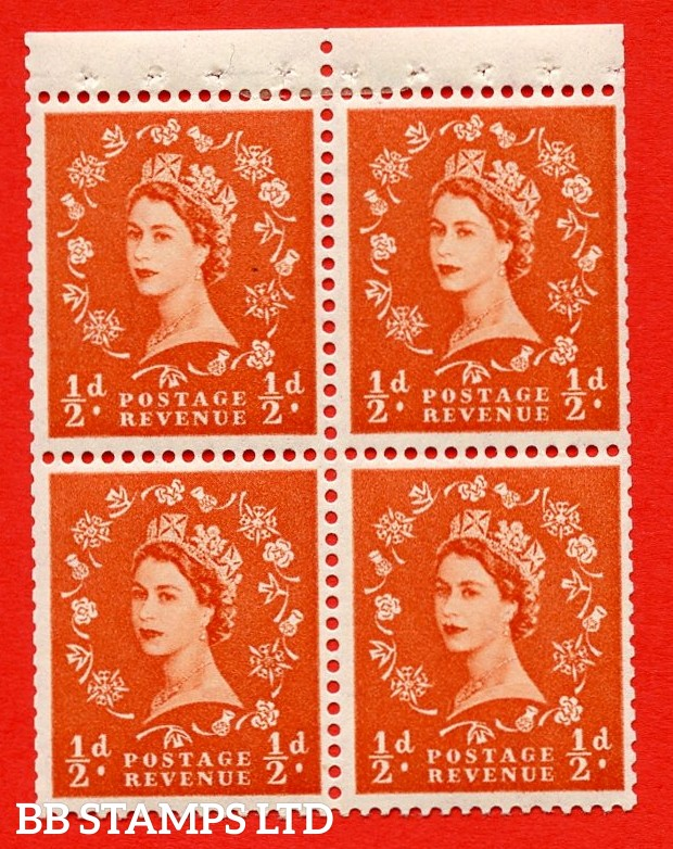 SG. 515m. S2. ½d Orange-Red. A fine MOUNTED MINT. complete control block of 4 with perf type P. Trimmed perfs.