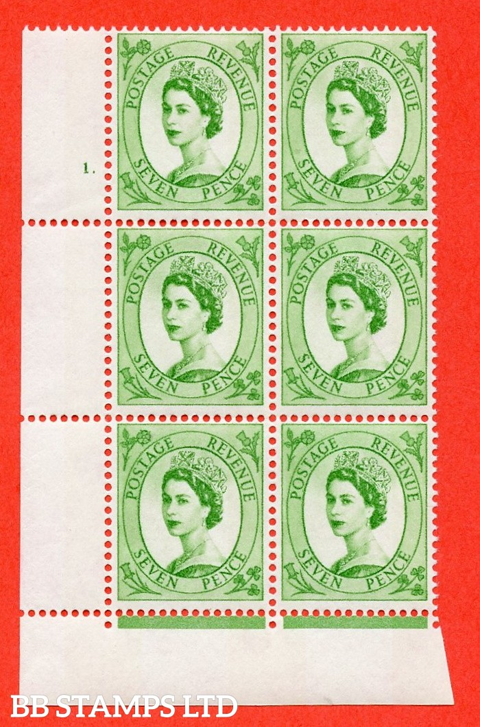 "SG.617a. S118. 7d Bright Green. A fine mounted mint "" cylinder 1 dot "" control block of 6 with perf type FL (P/E). violet Phosphor 9½mm Band."