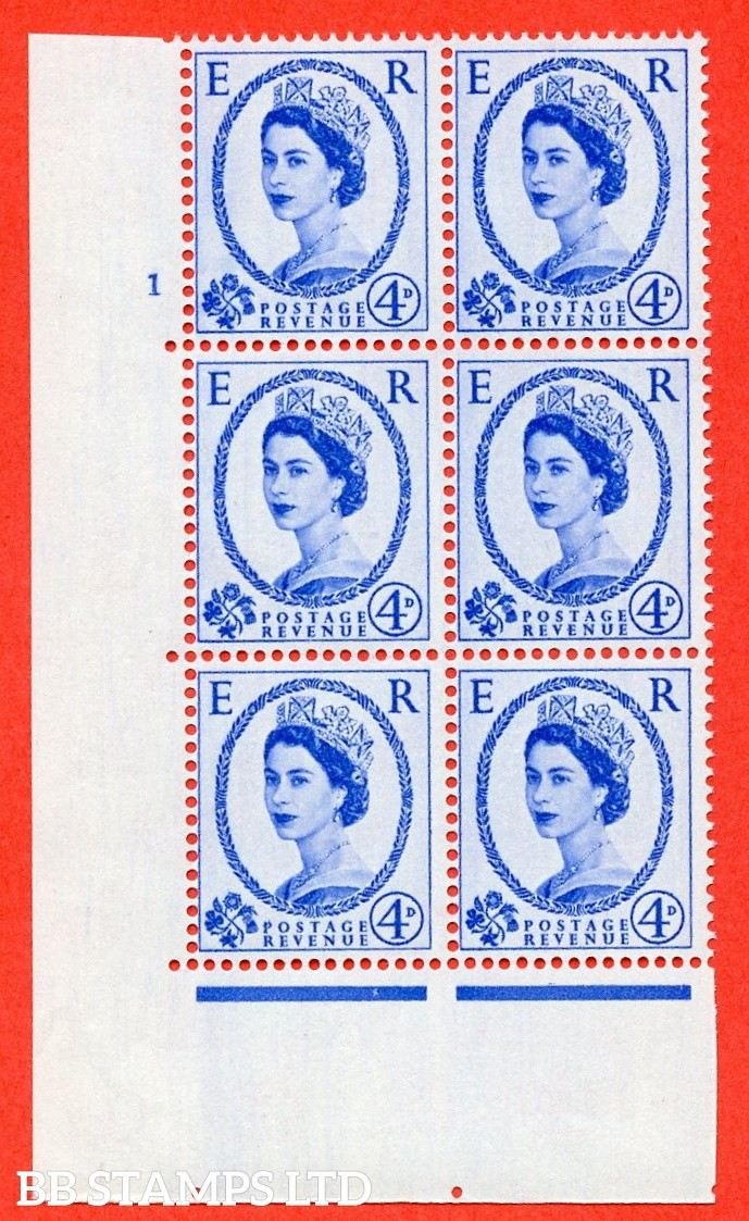 "SG S83. 4d ultramarine  A superb UNMOUNTED MINT "" cylinder 1 no dot "" control block of 6 with perf type A (E/I)."