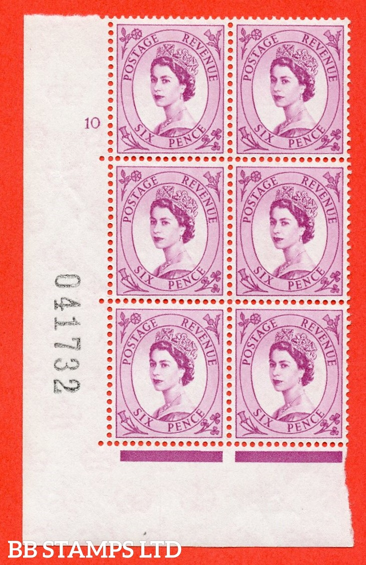 "SG. 579. S108. 6d Purple. A superb UNMOUNTED MINT "" cylinder 10 no dot "" control block of 6 with perf type A E/I. WHITE paper."