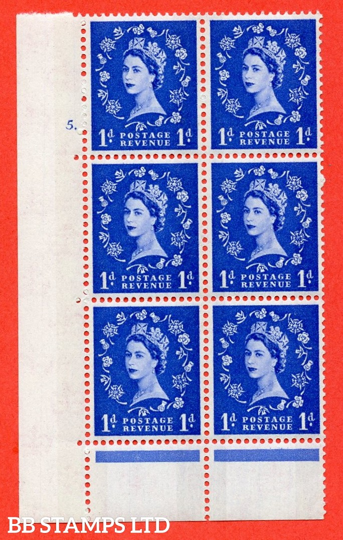 "SG.611. S21. 1d Ultramarine. A superb UNMOUNTED MINT "" cylinder 5 no dot "" control block of 6 with perf type C (E/P). Blue Phosphor Cream paper."