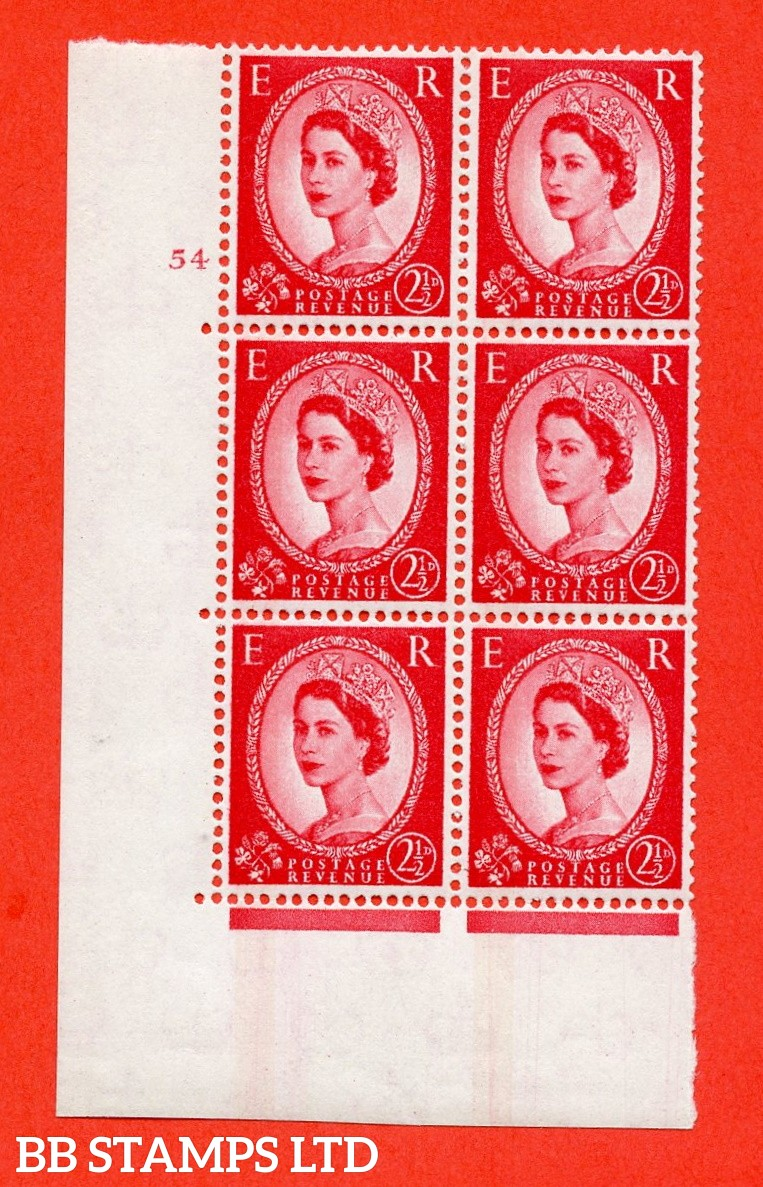 "SG.614a. S65. 2½d Carmine red. LB Photo.  A fine mounted mint "" cylinder 54 no dot "" control block of 6 with perf type A (E/I). Blue Phosphor White paper"