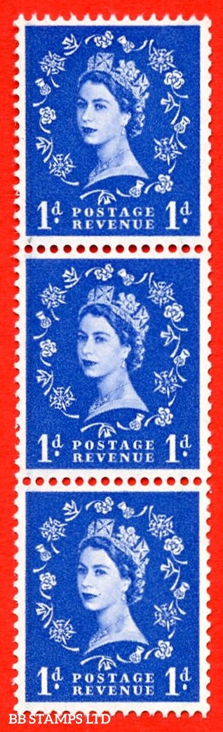 SG. 588 S18i. 1d ultramarine. A super UNMOUNTED MINT example. Coil strip of 3. Crowns graphite. With a spot on thistle head ERROR. Roll 1 variety.