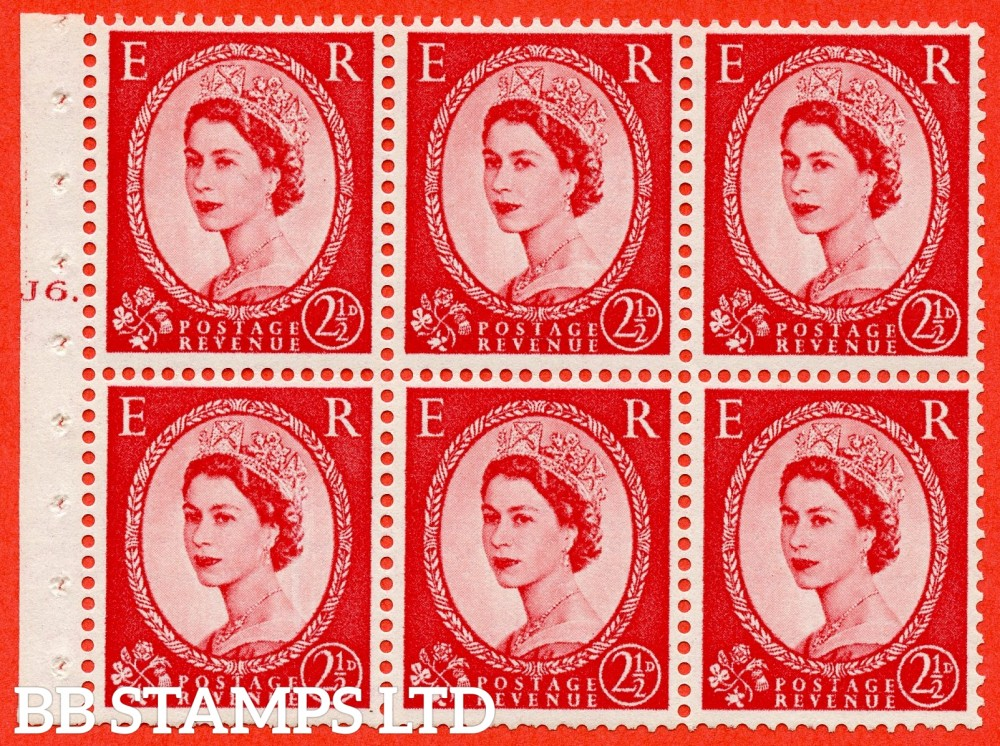 "SG. 544b. SB81. 2½d carmine - red. A fine mounted mint "" J6 T dot "" booklet pane of 6. Perf type (Ieb) with TRIMMED PERFS. Smooth edge."
