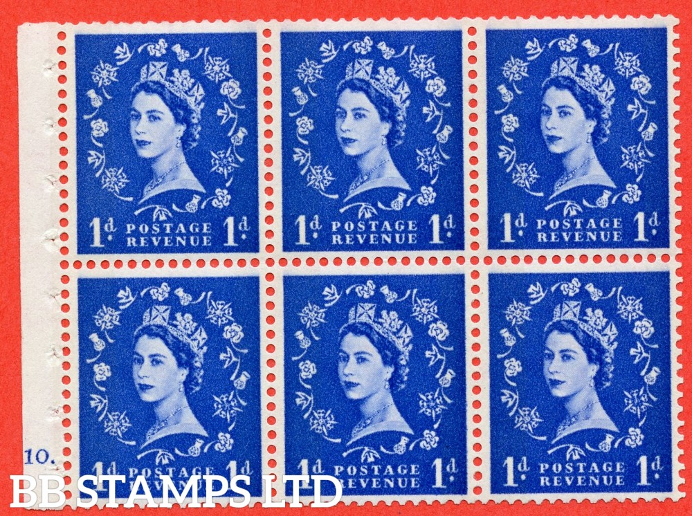 "SG. 611. SB41. 1d Ultramarine. A fine UNMOUNTED MINT cylinder "" F10 dot "" booklet pane of 6. Perf type (Iet) with GOOD PERFS. Smooth edge. Cream Paper."