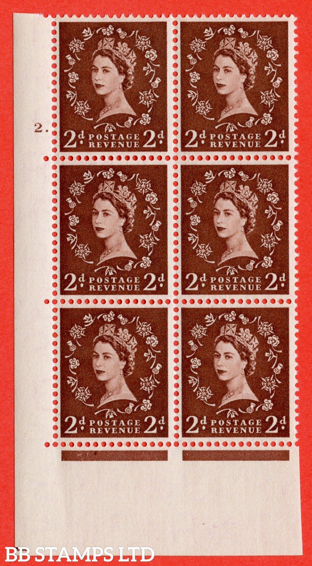 "SG. 518. S36. 2d Red-Brown. A superb UNMOUNTED MINT "" cylinder 2 dot "" control block of 6 with perf type A E/I."