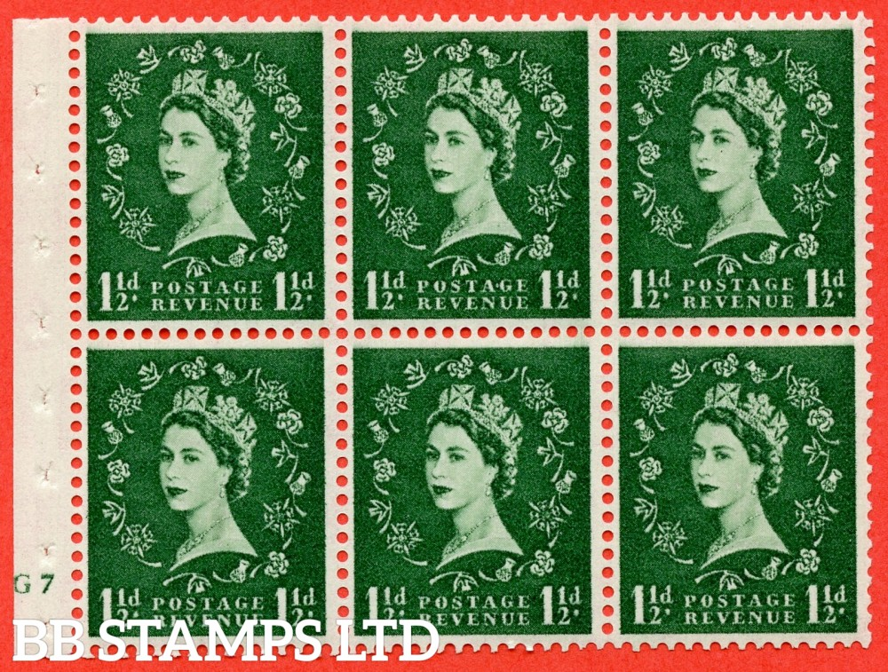"SG. 542. SB62. 1½d green. A fine mounted mint cylinder "" G7 no dot "" booklet pane of 6. Perf type (I) with TRIMMED PERFS. Smooth edge."
