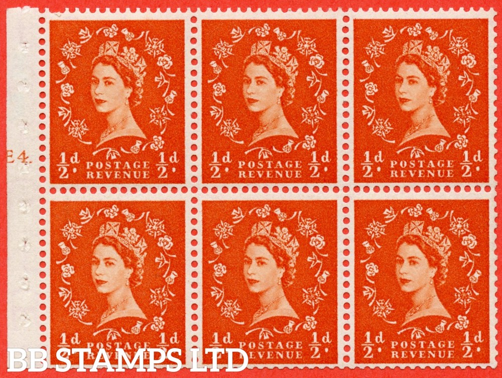 "SG. 540. SB4. ½d orange - red. A fine UNMOUNTED MINT cylinder "" E4 T no dot "" booklet pane of 6. Perf type (I) with TRIMMED PERFS. Smooth edge. Erroneous dot variety."