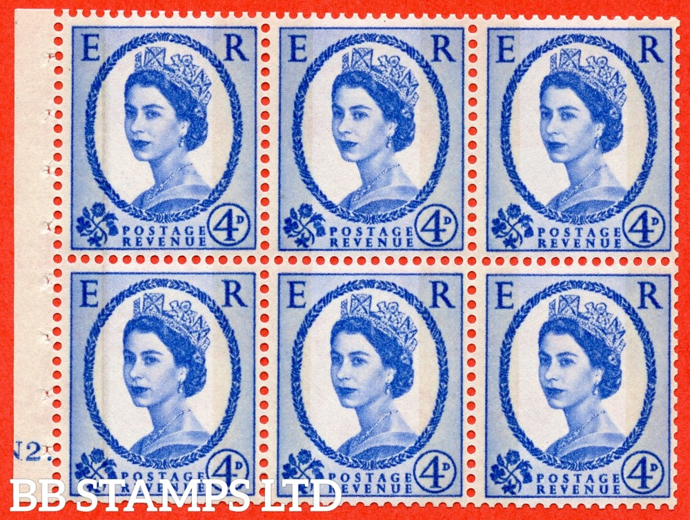 "SG. 616a. SB111. 4d Deep Ultramarine. A fine UNMOUNTED MINT cylinder "" N2 dot "" booklet pane of 6. Perf type (Ieb) with GOOD PERFS. Smooth edge."
