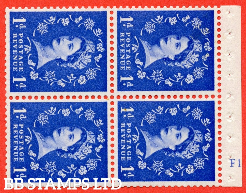 "SG. 571. SB33. 1d Ultramarine. A fine UNMOUNTED MINT cylinder "" F12  no dot "" booklet pane of 4. Perf type (I) with GOOD PERFS. Smooth edge. Cream paper."