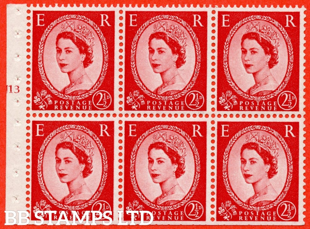 "SG. 574. SB82. 2½d Carmine Red Type II. A fine UNMOUNTED MINT cylinder "" J13 T no dot "" booklet pane of 6. Perf type (I) with TRIMMED PERFS. Smooth edge. Cream paper."