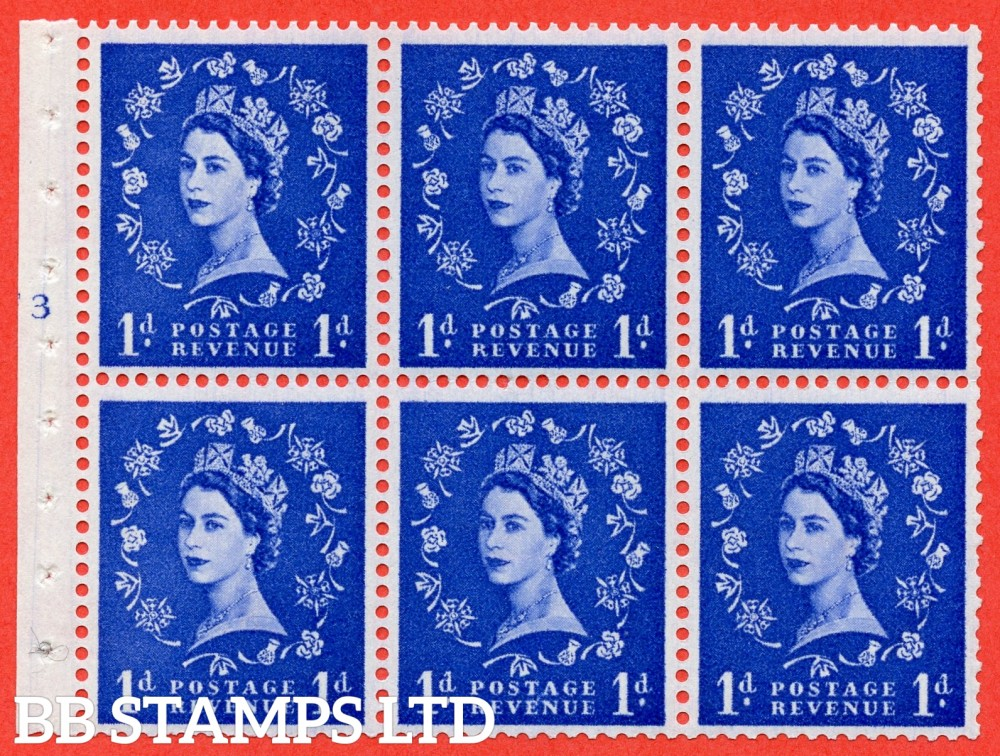 "SG. 571. SB30. 1d Ultramarine. A fine UNMOUNTED MINT cylinder "" F3 T no dot "" booklet pane of 6. Perf type (I) with TRIMMED PERFS. Smooth edge Cream paper."