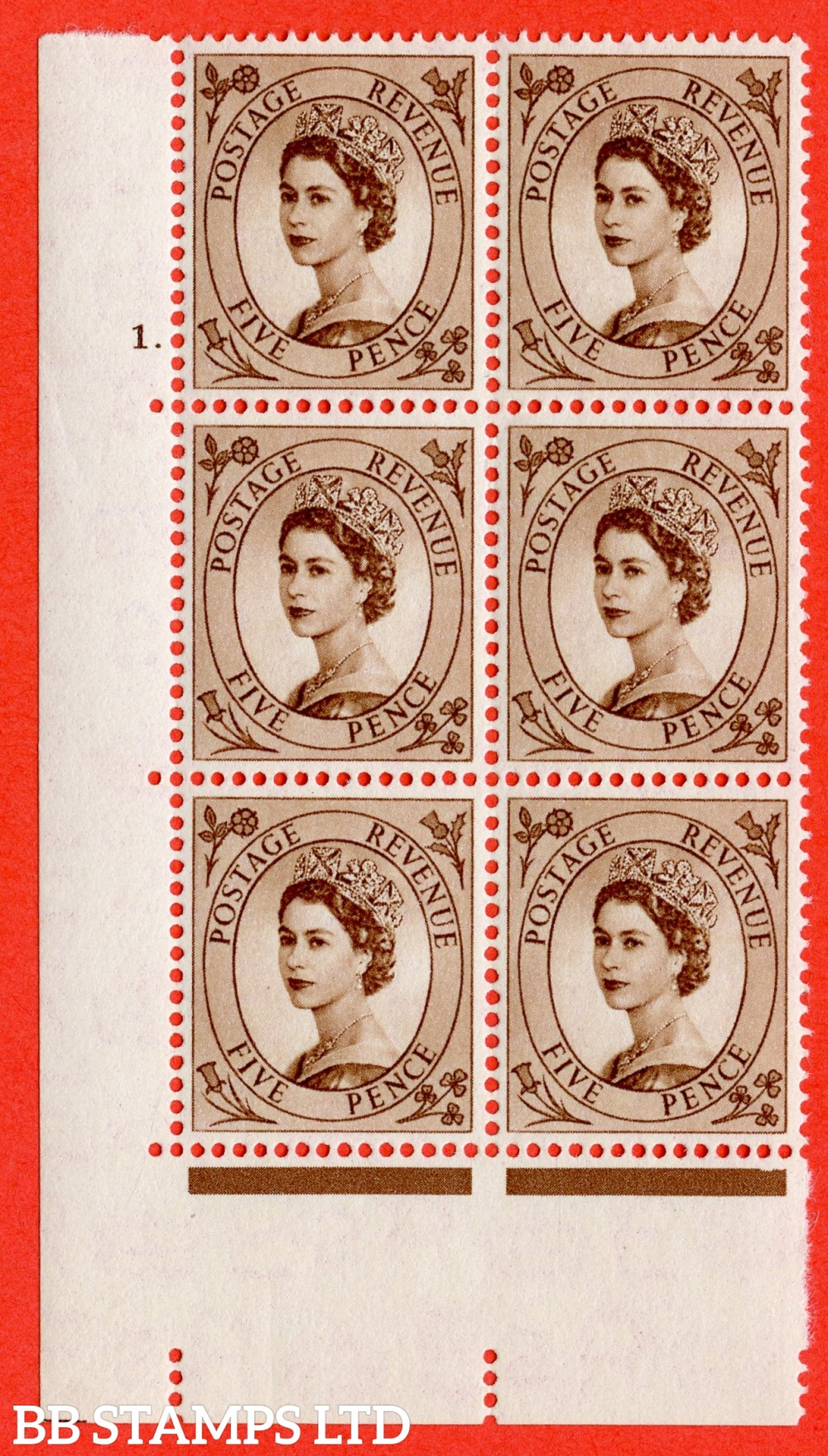 "SG. 522. S99. 5d Brown. A superb UNMOUNTED MINT "" cylinder 1 dot "" control block of 6 with perf type A E/I."
